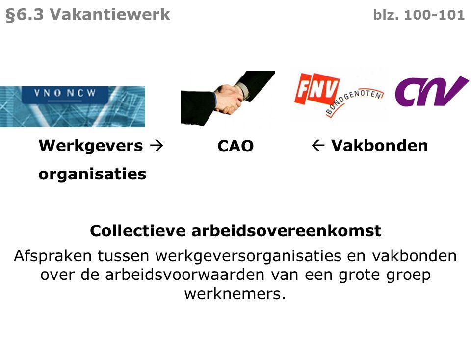Werkgevers   Vakbonden organisaties CAO Collectieve arbeidsovereenkomst Afspraken tussen werkgeversorganisaties en vakbonden over de arbeidsvoorwaar