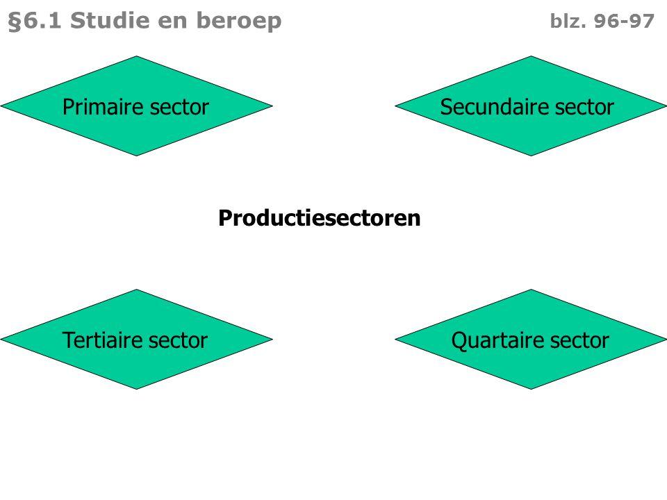Bedrijven die grondstoffen produceren Veeteelt Akkerbouw Tuinbouw Visserij Mijnbouw Primaire sector  §6.1 Studie en beroep blz.