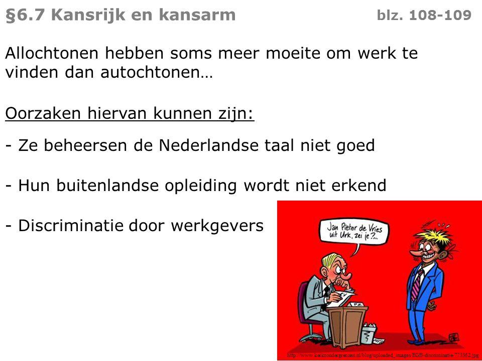 Allochtonen hebben soms meer moeite om werk te vinden dan autochtonen… Oorzaken hiervan kunnen zijn: - Ze beheersen de Nederlandse taal niet goed §6.7