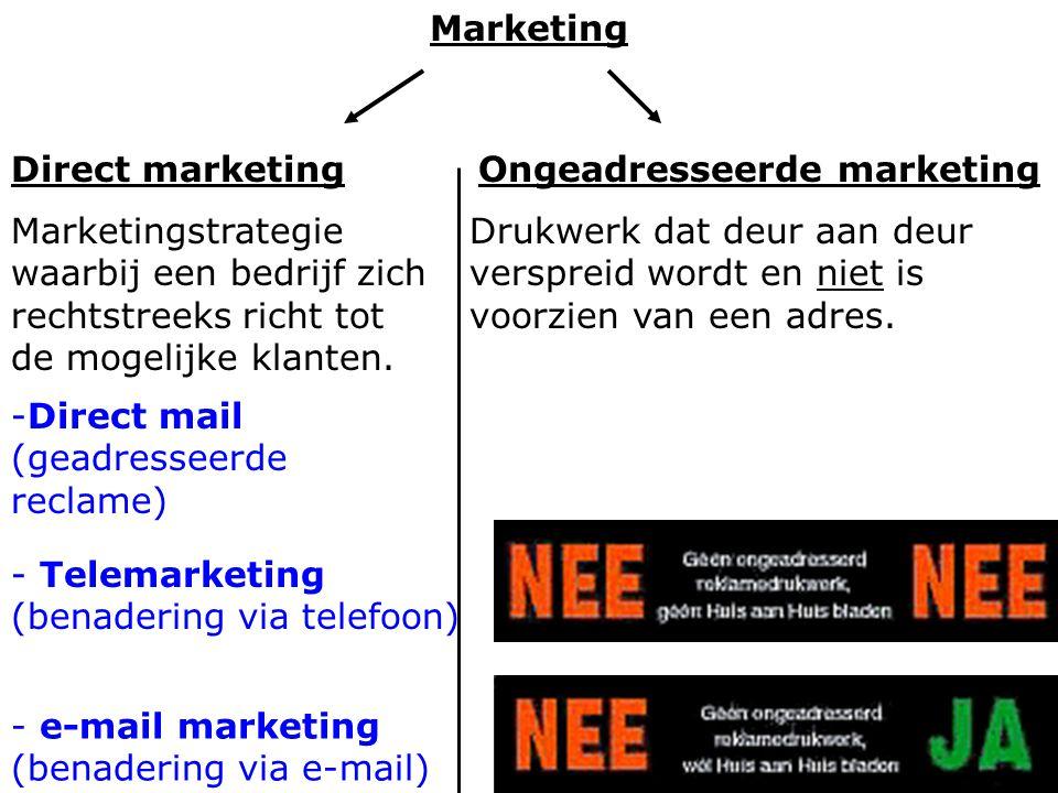 Marketing Direct marketing Marketingstrategie waarbij een bedrijf zich rechtstreeks richt tot de mogelijke klanten. Ongeadresseerde marketing Drukwerk