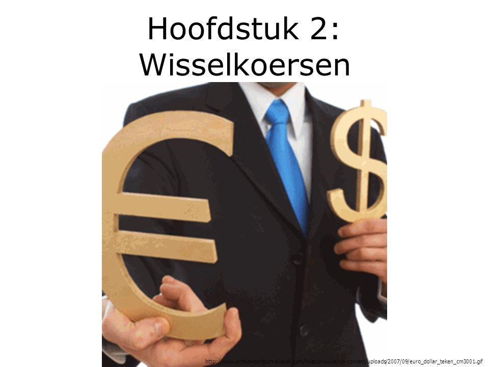 Wisselkoers Waarde van een munt uitgedrukt in een andere valuta.