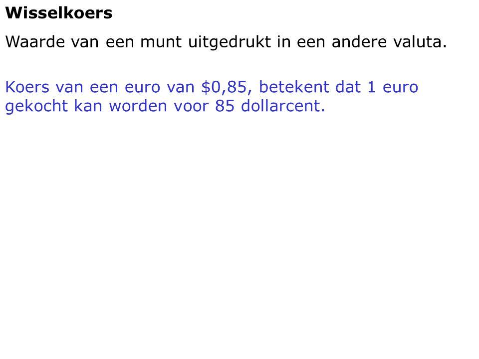 Wisselkoers Waarde van een munt uitgedrukt in een andere valuta. Koers van een euro van $0,85, betekent dat 1 euro gekocht kan worden voor 85 dollarce