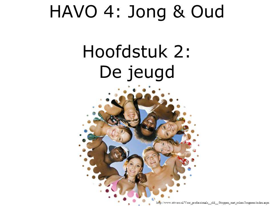 HAVO 4: Jong & Oud Hoofdstuk 2: De jeugd http://www.stivoro.nl/Voor_professionals__old__/Stoppen_met_roken/Jongeren/index.aspx