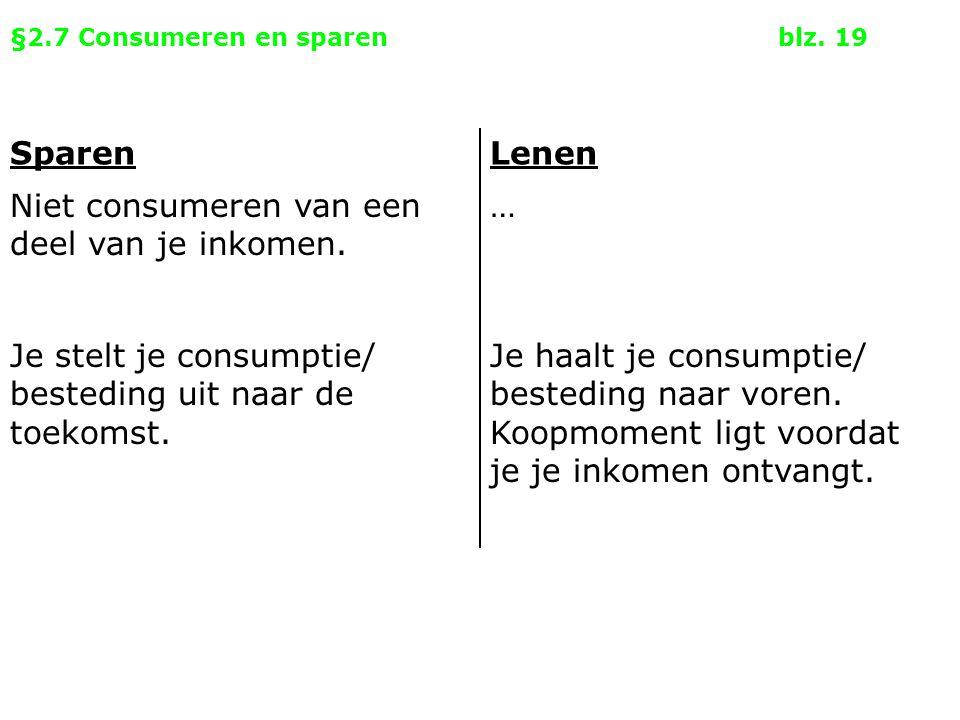 §2.7 Consumeren en sparenblz. 19 SparenLenen Niet consumeren van een deel van je inkomen. … Je stelt je consumptie/ besteding uit naar de toekomst. Je