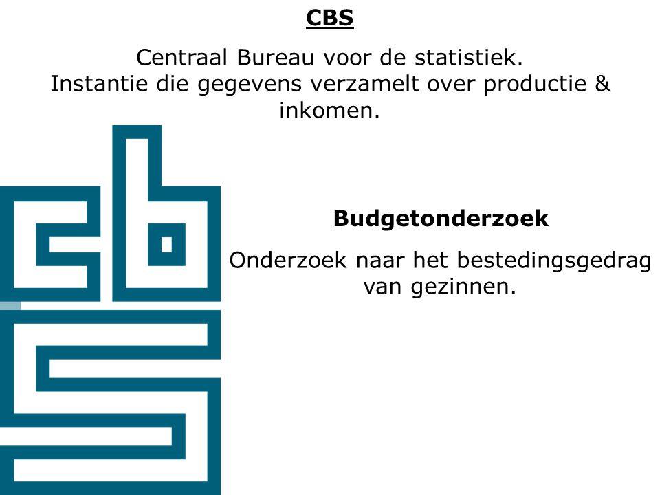 CBS Centraal Bureau voor de statistiek. Instantie die gegevens verzamelt over productie & inkomen.