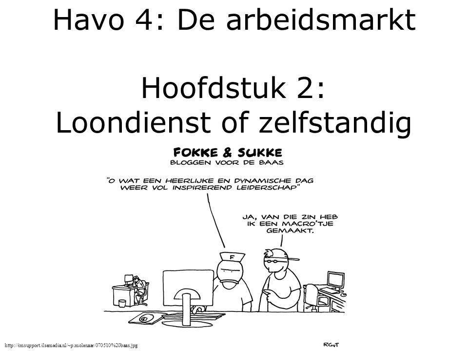 Havo 4: De arbeidsmarkt Hoofdstuk 2: Loondienst of zelfstandig http://imsupport.ilsemedia.nl/~p.molenaar/070510%20baas.jpg