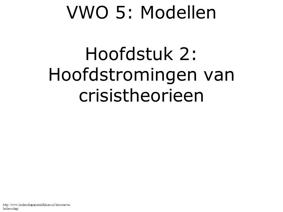 VWO 5: Modellen Hoofdstuk 2: Hoofdstromingen van crisistheorieen http://www.leiderschapenmindfulness.nl/het-nieuwe- leiderschap/