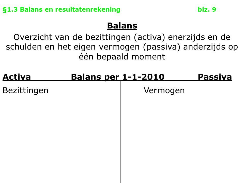 §1.3 Balans en resultatenrekeningblz. 9 Activa Balans per 1-1-2010Passiva BezittingenVermogen Balans Overzicht van de bezittingen (activa) enerzijds e