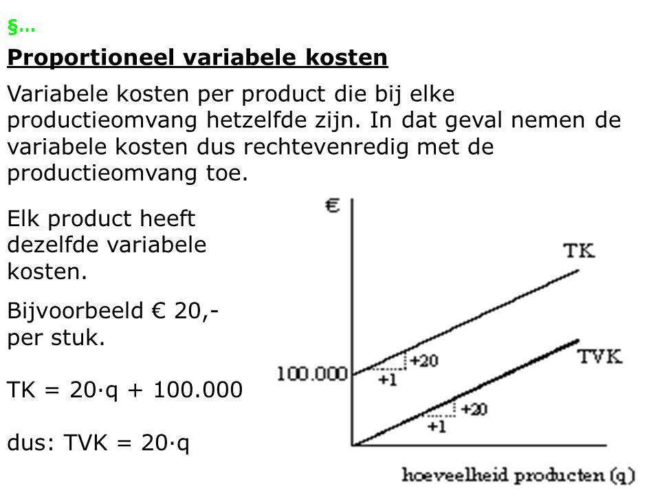 §… Proportioneel variabele kosten Variabele kosten per product die bij elke productieomvang hetzelfde zijn. In dat geval nemen de variabele kosten dus