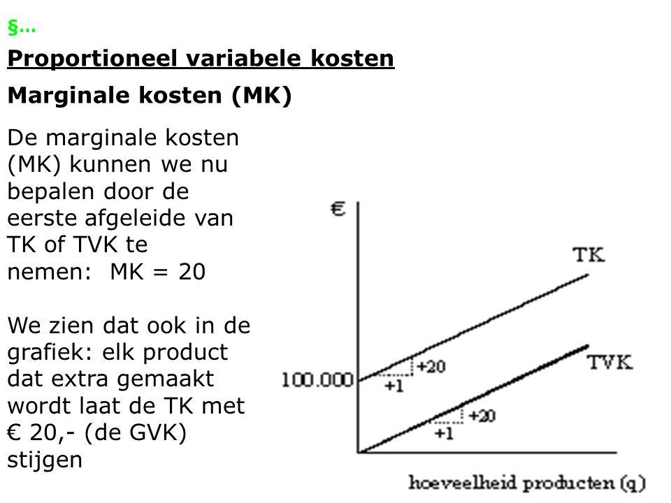 §… Proportioneel variabele kosten Marginale kosten (MK) De marginale kosten (MK) kunnen we nu bepalen door de eerste afgeleide van TK of TVK te nemen: