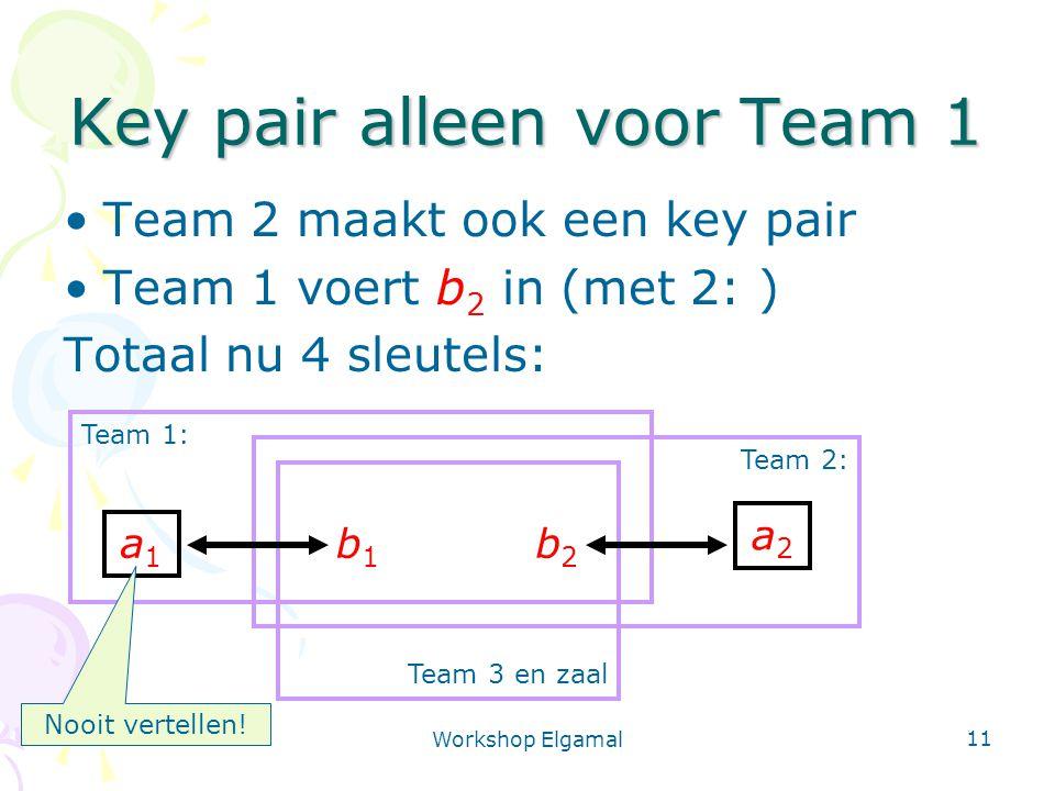Workshop Elgamal 11 Team 3 en zaal Team 2: Team 1: Key pair alleen voor Team 1 Team 2 maakt ook een key pair Team 1 voert b 2 in (met 2: ) Totaal nu 4