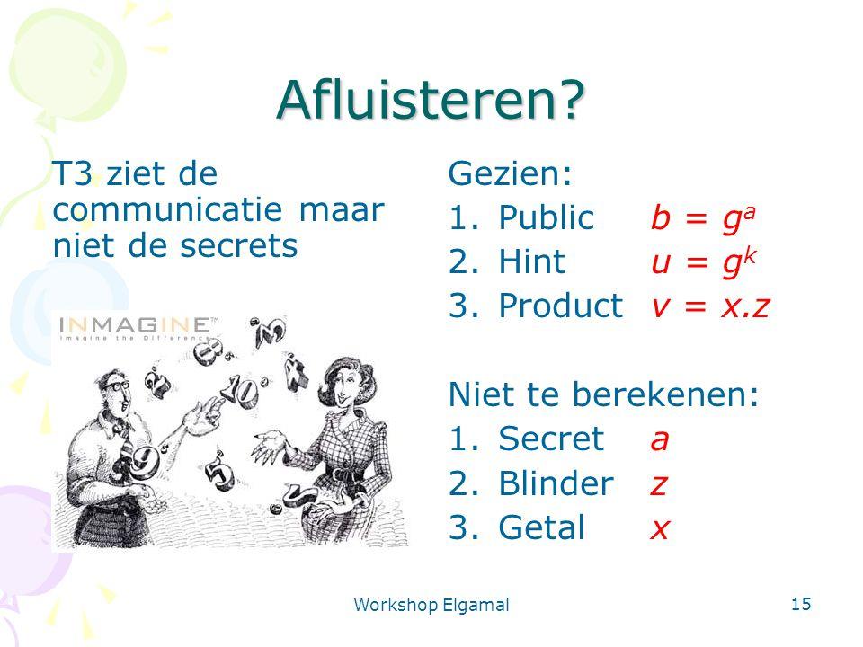 Workshop Elgamal 15 Afluisteren? Gezien: 1.Public b = g a 2.Hintu = g k 3.Product v = x.z Niet te berekenen: 1.Secreta 2.Blinderz 3.Getalx T3 ziet de