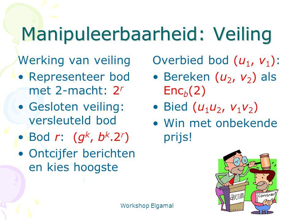 Workshop Elgamal 21 Manipuleerbaarheid: Veiling Werking van veiling Representeer bod met 2-macht: 2 r Gesloten veiling: versleuteld bod Bod r: (g k, b