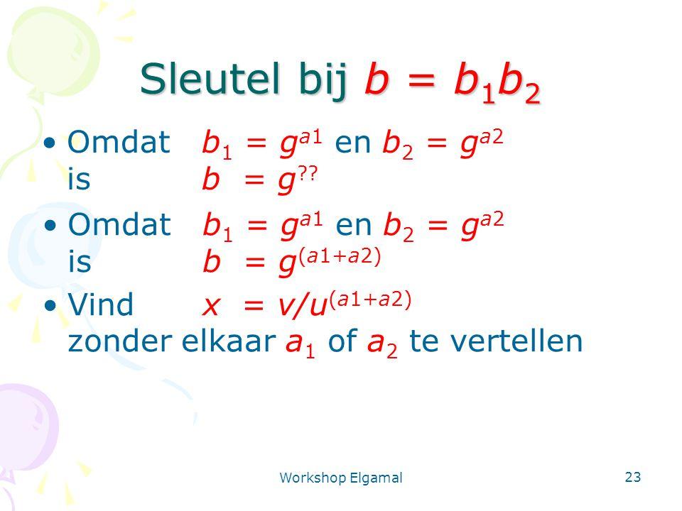 Workshop Elgamal 23 Sleutel bij b = b 1 b 2 Omdat b 1 = g a1 en b 2 = g a2 isb = g ?? Omdat b 1 = g a1 en b 2 = g a2 isb = g (a1+a2) Vindx = v/u (a1+a