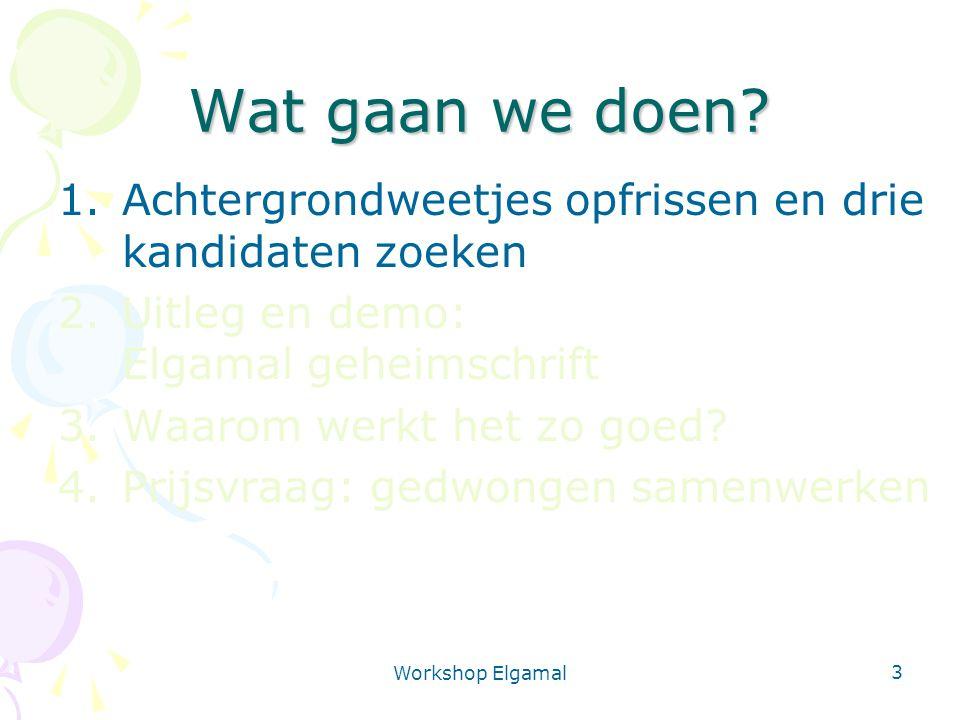 Workshop Elgamal 24 Het Elgamal programma Te gebruiken in VWO klas Programma, workshop- boekje, uitleg, deze slides op website Programma uitbreidbaar Boekje heeft ideeën voor experimenten/scripties http://www.cs.uu.nl/~gerard/Cryptografie/Elgamal