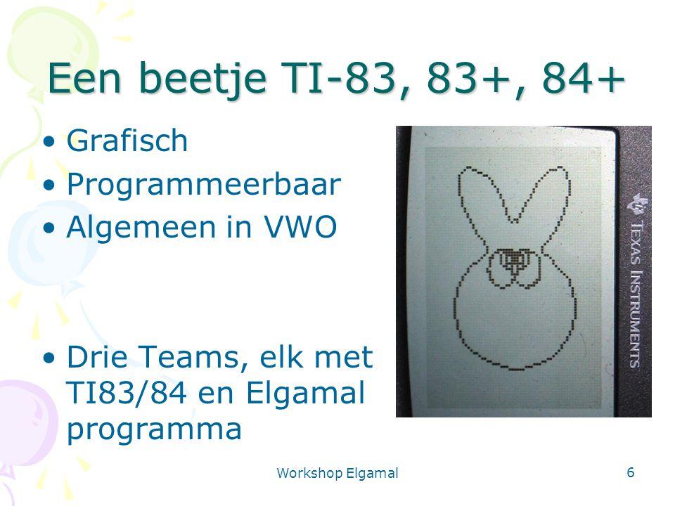 Workshop Elgamal 7 Een beetje Cryptografie Ceasar Code, boodschap x Zender en ontvanger gebruiken dezelfde sleutel: symmetrische code Gebruik TI-83: Hoofdmenu, 1:Ceasar Team 1 kiest sleutel z Team 1, 2 stel sleutel in (2:)