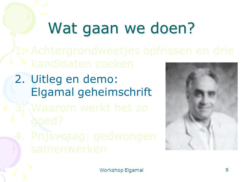 Workshop Elgamal 9 Wat gaan we doen? 1.Achtergrondweetjes opfrissen en drie kandidaten zoeken 2.Uitleg en demo: Elgamal geheimschrift 3.Waarom werkt h