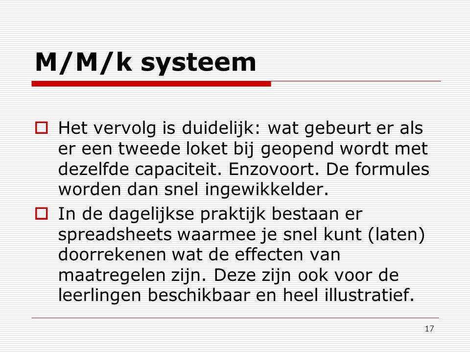 17 M/M/k systeem  Het vervolg is duidelijk: wat gebeurt er als er een tweede loket bij geopend wordt met dezelfde capaciteit. Enzovoort. De formules