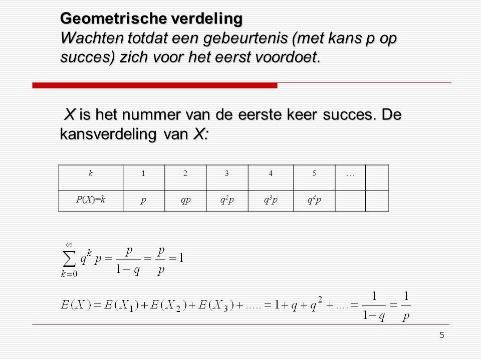 5 Geometrische verdeling Wachten totdat een gebeurtenis (met kans p op succes) zich voor het eerst voordoet. X is het nummer van de eerste keer succes