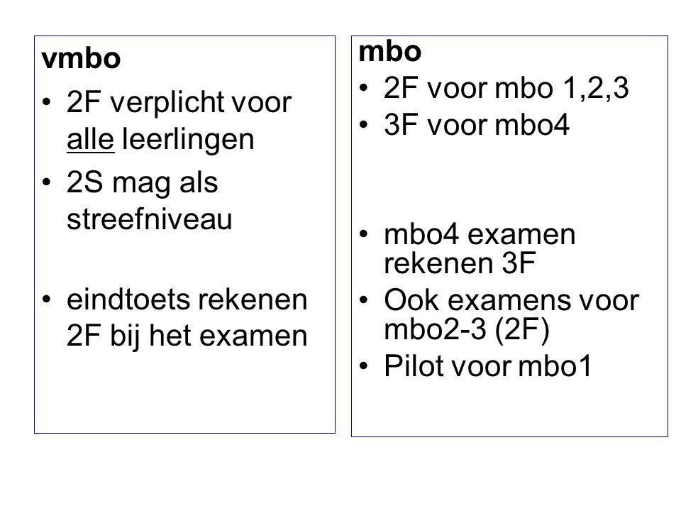 vmbo 2F verplicht voor alle leerlingen 2S mag als streefniveau eindtoets rekenen 2F bij het examen mbo 2F voor mbo 1,2,3 3F voor mbo4 mbo4 examen reke