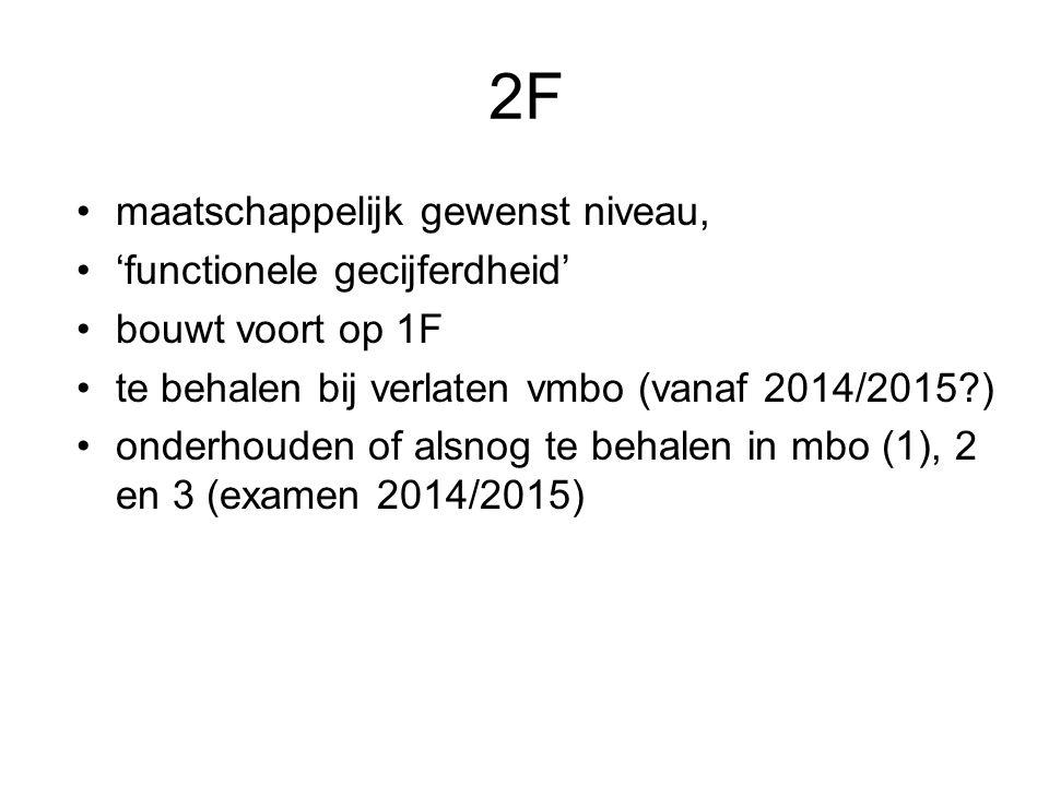 2F maatschappelijk gewenst niveau, 'functionele gecijferdheid' bouwt voort op 1F te behalen bij verlaten vmbo (vanaf 2014/2015?) onderhouden of alsnog