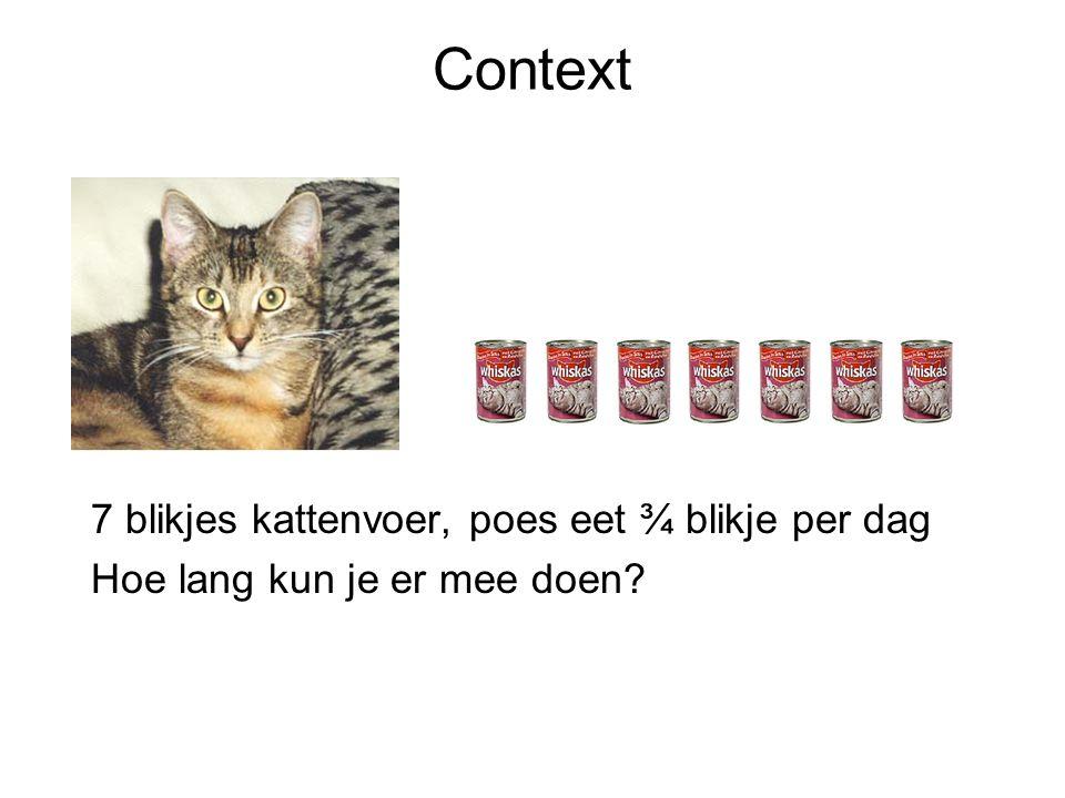 Context 7 blikjes kattenvoer, poes eet ¾ blikje per dag Hoe lang kun je er mee doen?