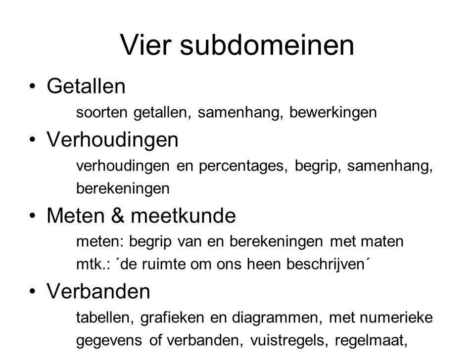 Vier subdomeinen Getallen soorten getallen, samenhang, bewerkingen Verhoudingen verhoudingen en percentages, begrip, samenhang, berekeningen Meten & m