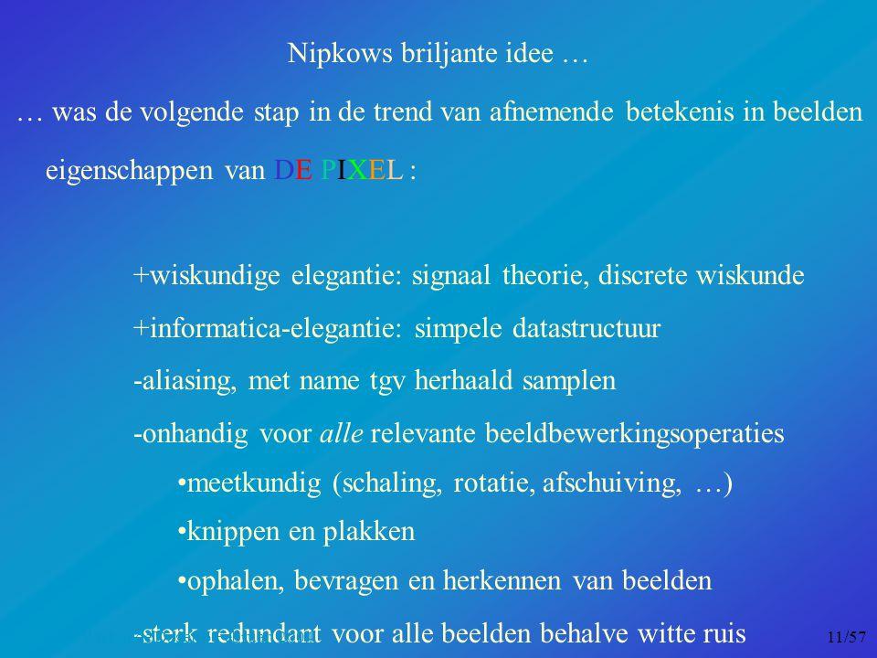 Nipkows briljante idee … … was de volgende stap in de trend van afnemende betekenis in beelden eigenschappen van DE PIXEL : +wiskundige elegantie: signaal theorie, discrete wiskunde +informatica-elegantie: simpele datastructuur -aliasing, met name tgv herhaald samplen -onhandig voor alle relevante beeldbewerkingsoperaties meetkundig (schaling, rotatie, afschuiving, …) knippen en plakken ophalen, bevragen en herkennen van beelden -sterk redundant voor alle beelden behalve witte ruis Nationale Wiskunde Dagen 6 Februari 2004 11/57