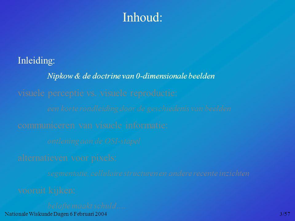 Nipkows briljante idee … … oorzaak van een eeuw vol aliasing en paradoxen Nationale Wiskunde Dagen 6 Februari 2004 4/57