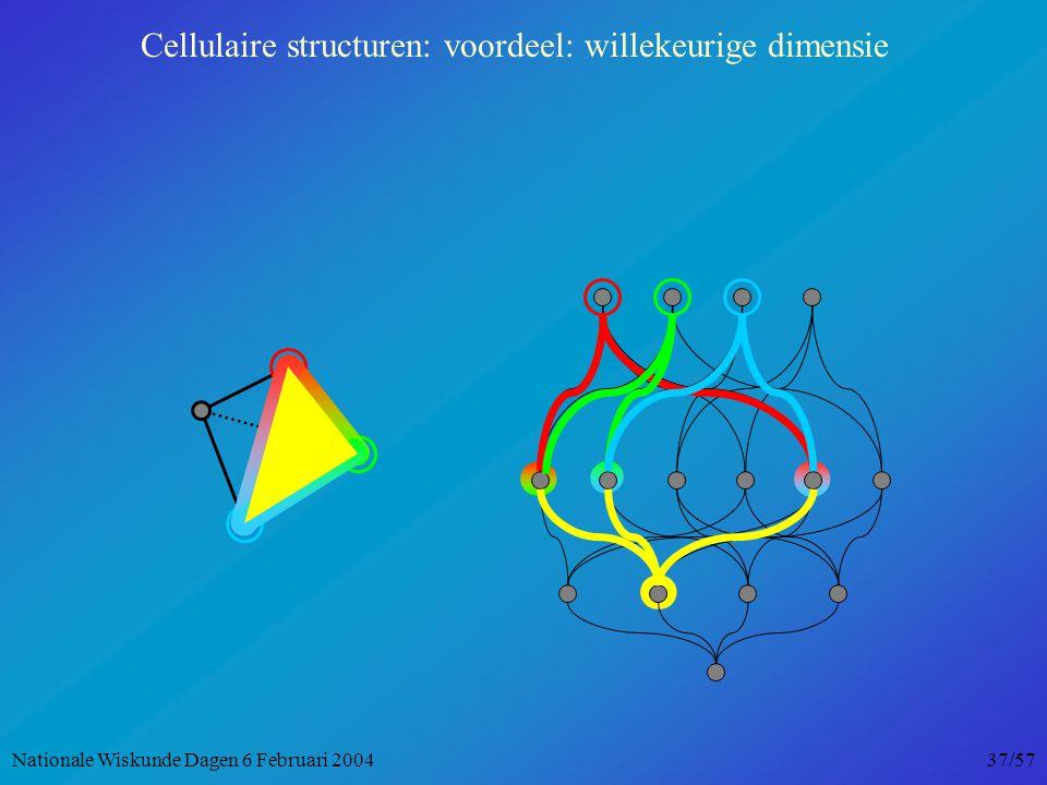 Cellulaire structuren: voordeel: willekeurige dimensie Nationale Wiskunde Dagen 6 Februari 2004 37/57