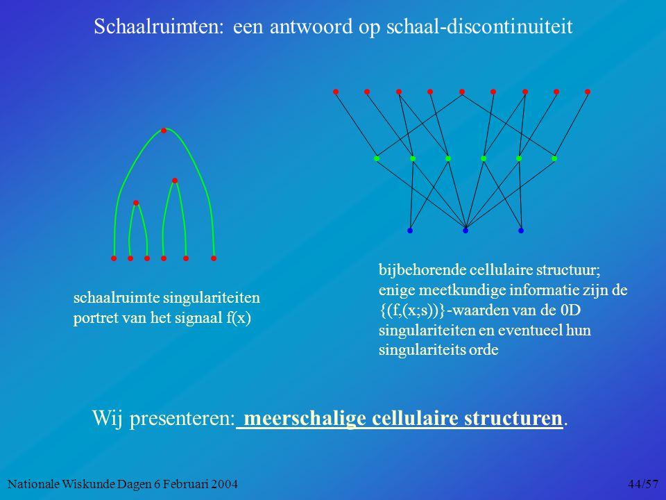 schaalruimte singulariteiten portret van het signaal f(x) bijbehorende cellulaire structuur; enige meetkundige informatie zijn de {(f,(x;s))}-waarden van de 0D singulariteiten en eventueel hun singulariteits orde Wij presenteren: meerschalige cellulaire structuren.