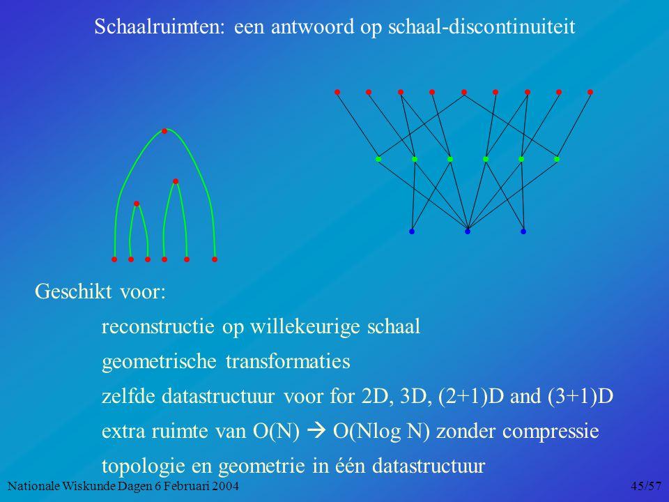 Geschikt voor: reconstructie op willekeurige schaal geometrische transformaties zelfde datastructuur voor for 2D, 3D, (2+1)D and (3+1)D extra ruimte van O(N)  O(Nlog N) zonder compressie topologie en geometrie in één datastructuur Schaalruimten: een antwoord op schaal-discontinuiteit Nationale Wiskunde Dagen 6 Februari 2004 45/57