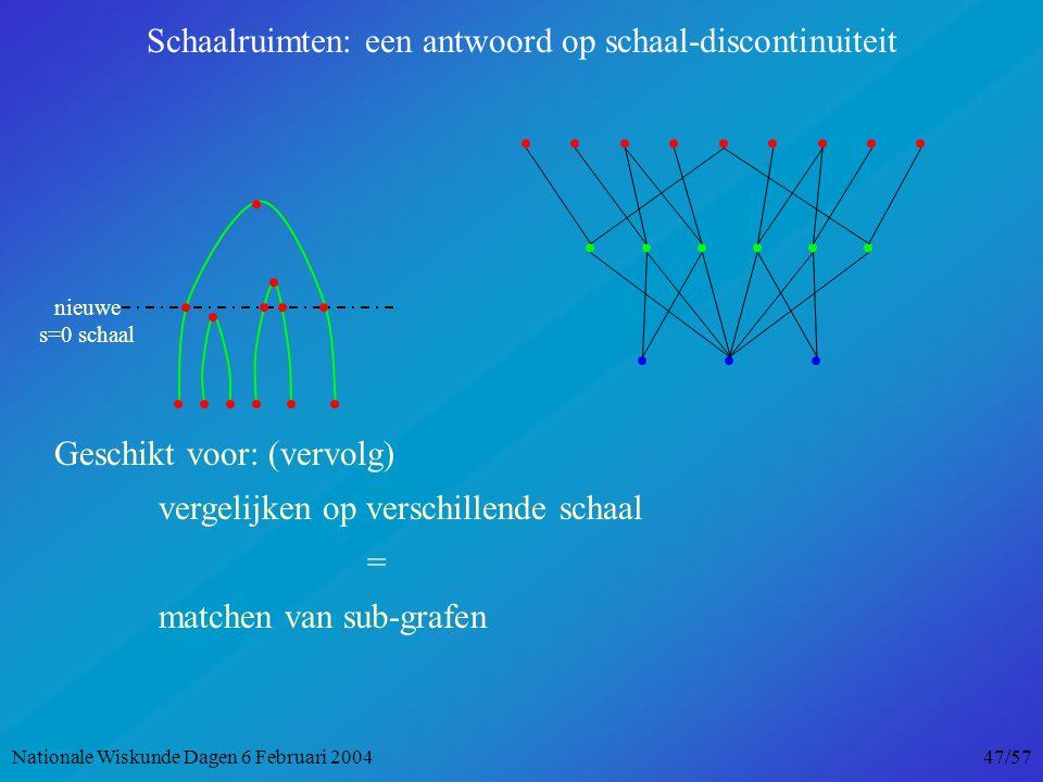 nieuwe s=0 schaal Schaalruimten: een antwoord op schaal-discontinuiteit Geschikt voor: (vervolg) vergelijken op verschillende schaal = matchen van sub-grafen Nationale Wiskunde Dagen 6 Februari 2004 47/57