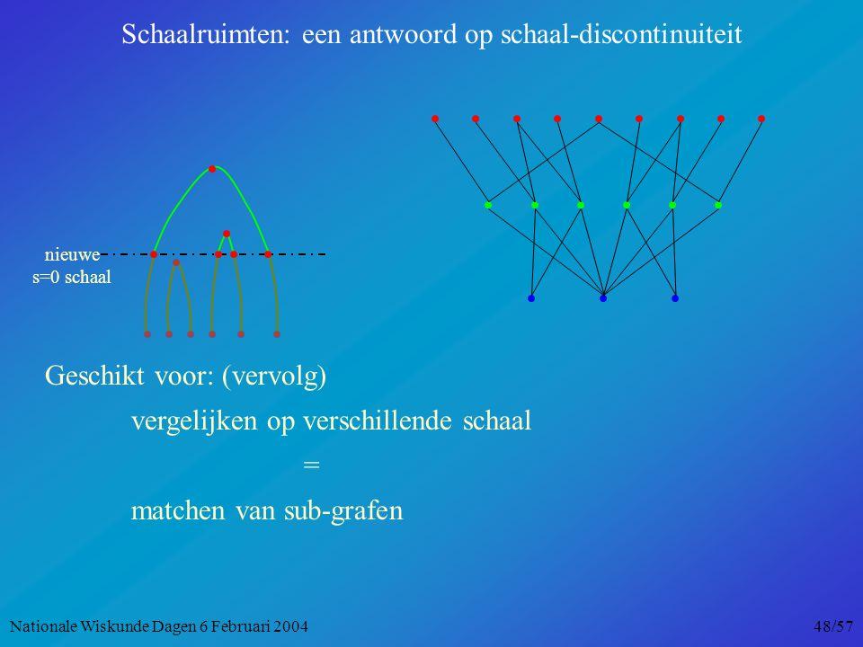 nieuwe s=0 schaal Schaalruimten: een antwoord op schaal-discontinuiteit Geschikt voor: (vervolg) vergelijken op verschillende schaal = matchen van sub-grafen Nationale Wiskunde Dagen 6 Februari 2004 48/57