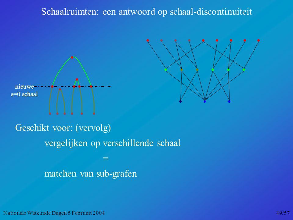 nieuwe s=0 schaal Geschikt voor: (vervolg) vergelijken op verschillende schaal = matchen van sub-grafen Schaalruimten: een antwoord op schaal-discontinuiteit Nationale Wiskunde Dagen 6 Februari 2004 49/57