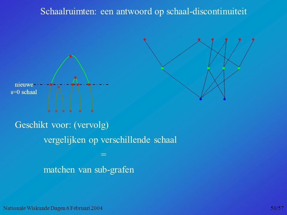 nieuwe s=0 schaal Schaalruimten: een antwoord op schaal-discontinuiteit Geschikt voor: (vervolg) vergelijken op verschillende schaal = matchen van sub-grafen Nationale Wiskunde Dagen 6 Februari 2004 50/57