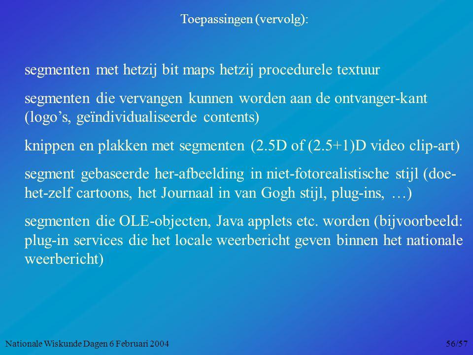 Toepassingen (vervolg): segmenten met hetzij bit maps hetzij procedurele textuur segmenten die vervangen kunnen worden aan de ontvanger-kant (logo's, geïndividualiseerde contents) knippen en plakken met segmenten (2.5D of (2.5+1)D video clip-art) segment gebaseerde her-afbeelding in niet-fotorealistische stijl (doe- het-zelf cartoons, het Journaal in van Gogh stijl, plug-ins, …) segmenten die OLE-objecten, Java applets etc.