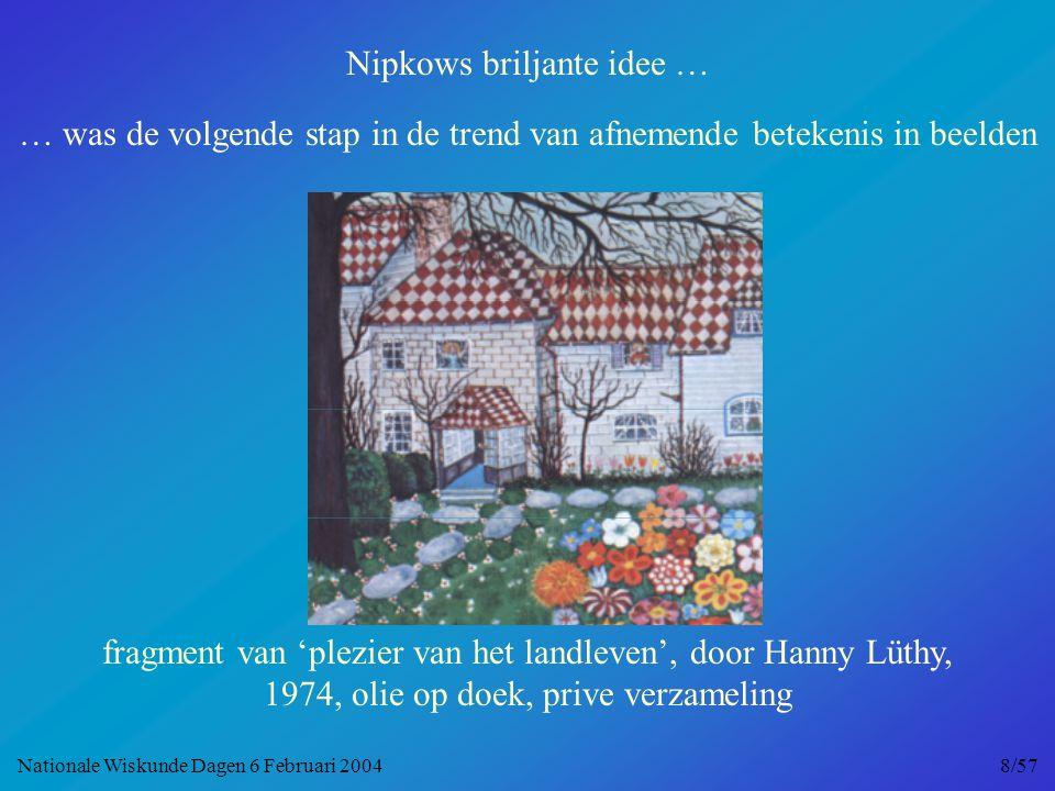 Nipkows briljante idee … … was de volgende stap in de trend van afnemende betekenis in beelden fragment van 'plezier van het landleven', door Hanny Lüthy, 1974, olie op doek, prive verzameling Nationale Wiskunde Dagen 6 Februari 2004 8/57
