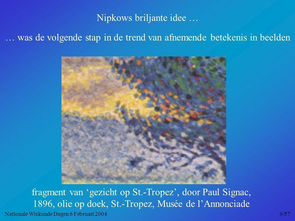 Nipkows briljante idee … … was de volgende stap in de trend van afnemende betekenis in beelden fragment van 'gezicht op St.-Tropez', door Paul Signac, 1896, olie op doek, St.-Tropez, Musée de l'Annonciade Nationale Wiskunde Dagen 6 Februari 2004 9/57