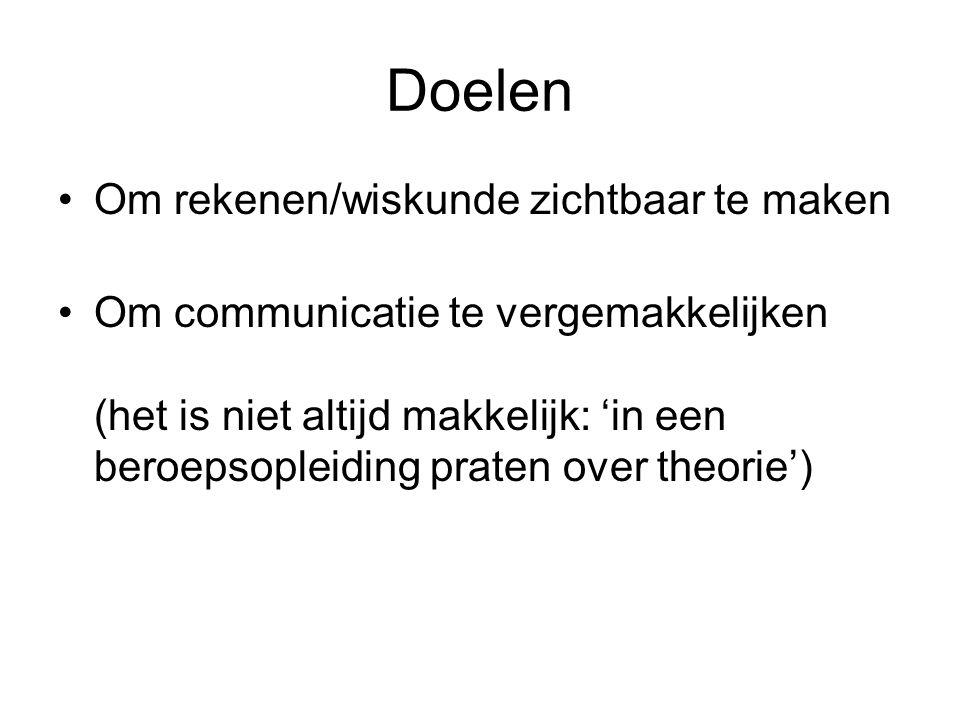 Doelen Om rekenen/wiskunde zichtbaar te maken Om communicatie te vergemakkelijken (het is niet altijd makkelijk: 'in een beroepsopleiding praten over theorie')