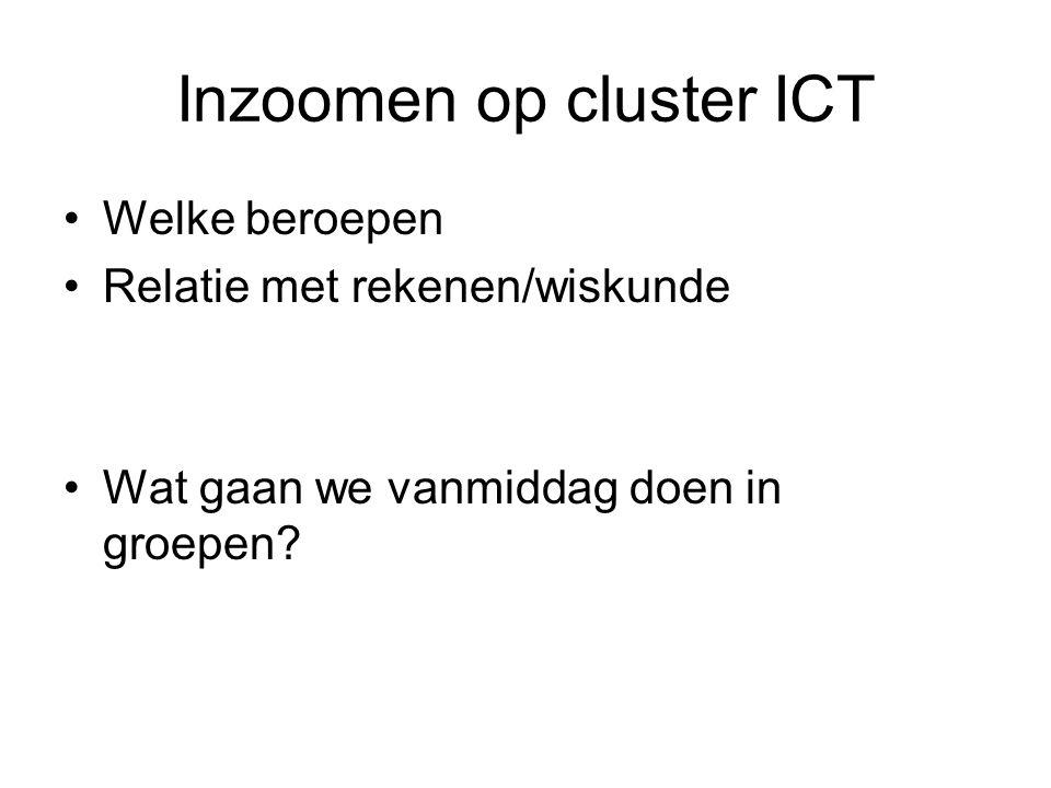 Inzoomen op cluster ICT Welke beroepen Relatie met rekenen/wiskunde Wat gaan we vanmiddag doen in groepen?