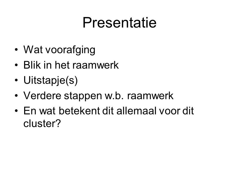 Presentatie Wat voorafging Blik in het raamwerk Uitstapje(s) Verdere stappen w.b.
