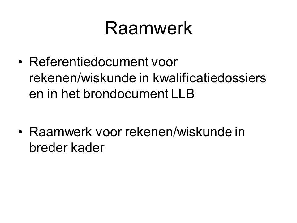 Raamwerk Referentiedocument voor rekenen/wiskunde in kwalificatiedossiers en in het brondocument LLB Raamwerk voor rekenen/wiskunde in breder kader
