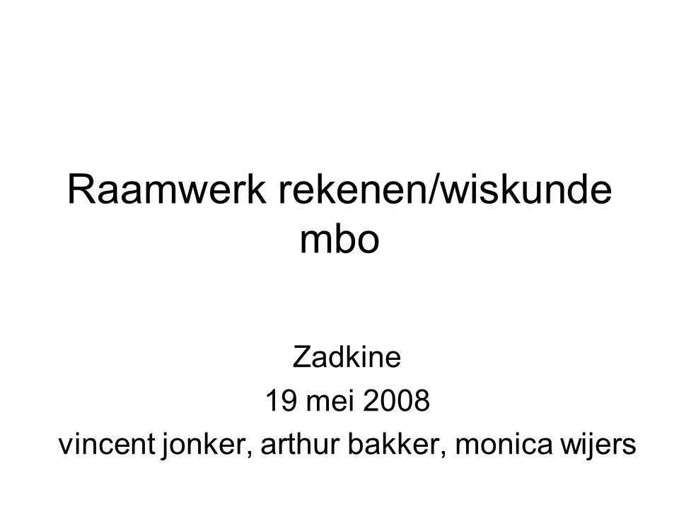 Raamwerk rekenen/wiskunde mbo Zadkine 19 mei 2008 vincent jonker, arthur bakker, monica wijers
