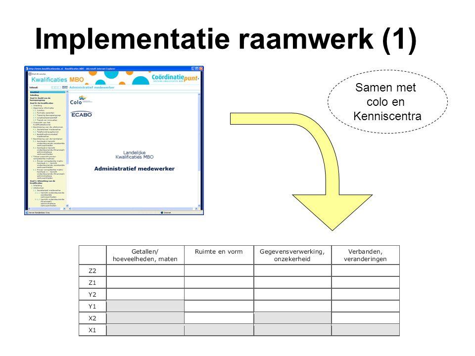 Implementatie raamwerk (1) Samen met colo en Kenniscentra