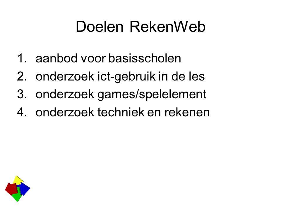 Doelen RekenWeb 1.aanbod voor basisscholen 2.onderzoek ict-gebruik in de les 3.onderzoek games/spelelement 4.onderzoek techniek en rekenen