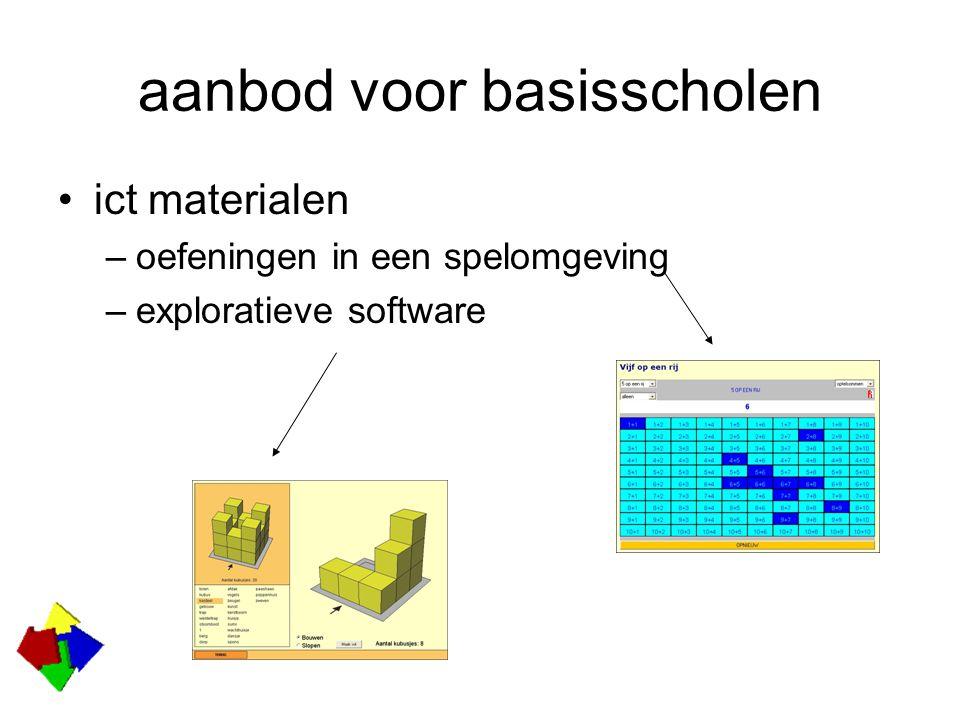 aanbod voor basisscholen ict materialen –oefeningen in een spelomgeving –exploratieve software