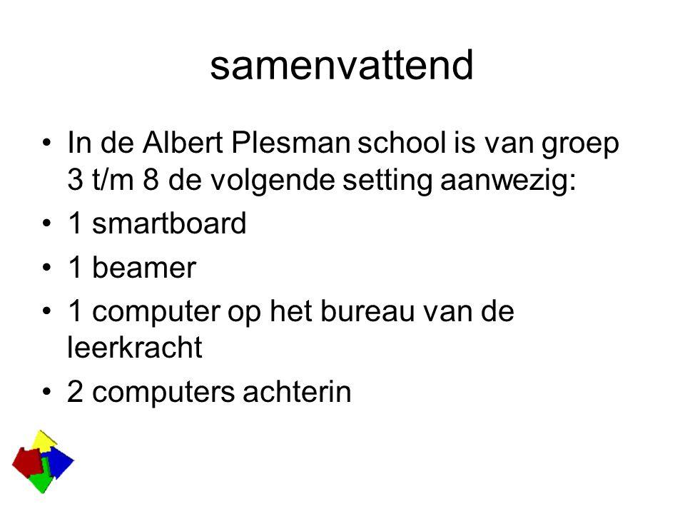 samenvattend In de Albert Plesman school is van groep 3 t/m 8 de volgende setting aanwezig: 1 smartboard 1 beamer 1 computer op het bureau van de leerkracht 2 computers achterin