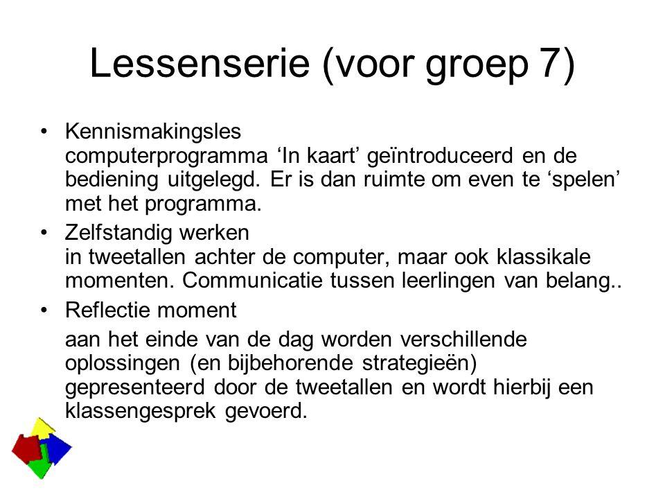 Lessenserie (voor groep 7) Kennismakingsles computerprogramma 'In kaart' geïntroduceerd en de bediening uitgelegd.
