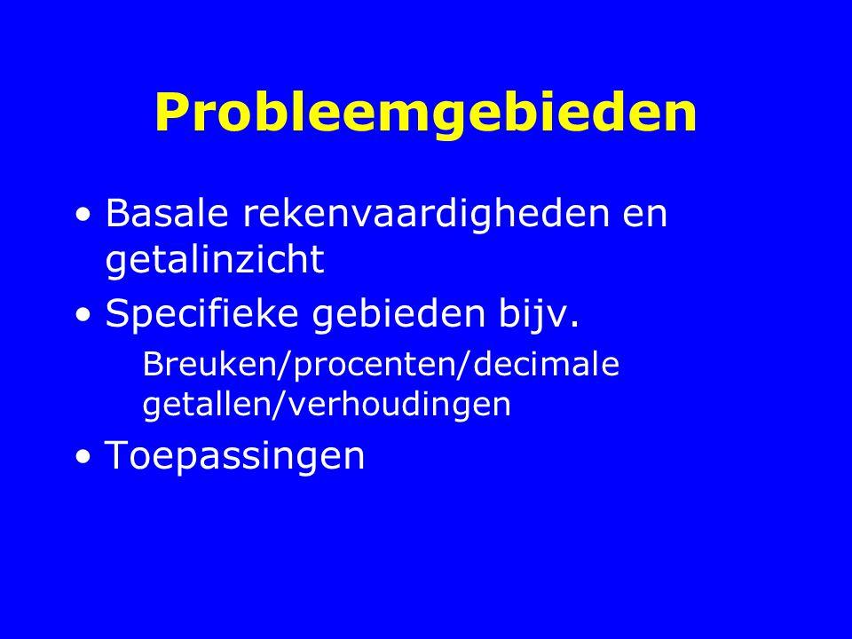 Probleemgebieden Basale rekenvaardigheden en getalinzicht Specifieke gebieden bijv. Breuken/procenten/decimale getallen/verhoudingen Toepassingen